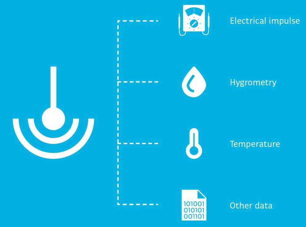 Radio sensors of temperature, hygrometry, index meter collection
